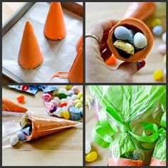 Sugar cones covered in candy melts, inside of the disposable decorating bags that I love. CUTE!