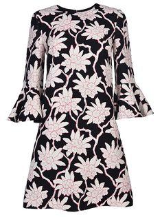 VALENTINO Floral Print Shift Dress in Nero