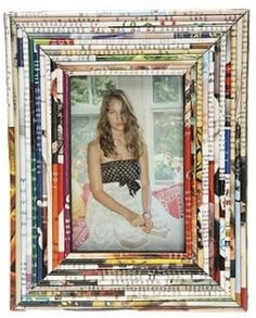 recycling magazine papers into a picture frame