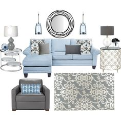 Blue, white and gray living room. love it for our living room. with the dark wood i think it would look nice Living room with blue molding Living Room Grey, Home Living Room, Living Room Decor, Living Spaces, Grey Room, Eames Design, Style Deco, Home And Deco, Room Colors
