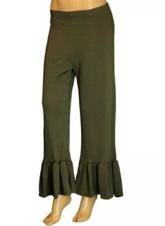 Womens Plus Size Solid Olive Banded Waist Ruffle Wide Pants Small #Unbranded #CasualPants