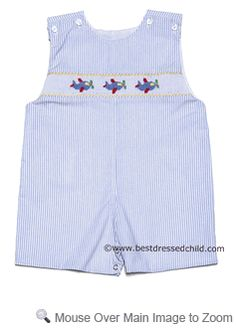 Petit Bebe by Anavini Baby / Toddler Boys Light Blue Mini Stripes Smocked Airplanes John John
