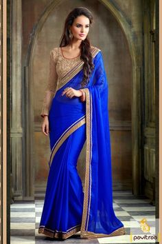 #Blue Color, # Embroidery Design, # Party Wear, #Designer, #Classic, #Fashionable, #Latest, #Modern. Online By : http://www.pavitraa.in/store/party-wear-saree/