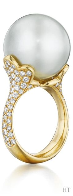 A Cultured Pearl and Diamond Ring, HT