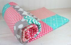 Baby Girl Blanket, Fleece Blanket, Coral Crib Bedding, Nursery Decor, Baby Shower Gift, Coral Pink, Teal, Tiffany Blue and Gray Grey Chevron on Etsy, $56.50