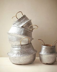 {décor inspiraton | diy : silver straw baskets, for storage & the market} by {this is glamorous}, via Flickr