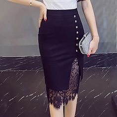 Women's Going out Plus Size Cotton Bodycon Skirts - Solid Colored Lace / Cut Out / Sexy 2018 - € Skirt Outfits, Dress Skirt, Lace Skirt, Plus Size Bodycon, Modele Hijab, Body Con Skirt, Vintage Skirt, Fashion Dresses, Maxi Dresses