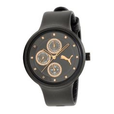 PUMA Women's PU910412004 Slick Multifunction Black Rosegold Accented Watch PUMA. $48.00. Flexible black polyurethane strap. Case size diameter: 38 mm. Black dial with rosegold accents. Water-resistant to 165 feet (50 M). Multifunction