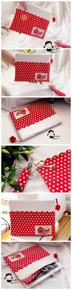 Red and white polka dots Sewing Lessons, Sewing Hacks, Sewing Crafts, Capas Kindle, Purse Tutorial, Pencil Bags, Creation Couture, Wallet Pattern, Fabric Bags
