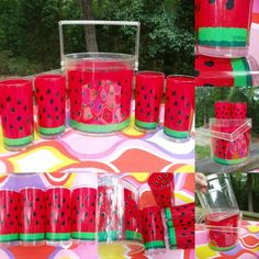 VTG 1970s Stotter Retro Acrylic Watermelon Ice Bucket Cups Tumblers Picnic LOT