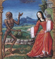 Maitre de Philippe de Gueldre, Un transi entrainant la femme du chevalier, extrait de La Danse macabre des femmes de Martial d'Auvergne