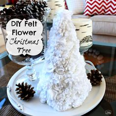 The Happy Housie- make your own small Felt Flower Christmas Tree