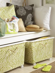 Create custom storage bins with cheap plastic storage containers! Hide those ugly plastic bins. Decorative Storage Bins, Fabric Storage Bins, Craft Storage, Storage Ideas, Fabric Bins, Fabric Basket, Entryway Storage, Garage Storage, Plastic Container Storage