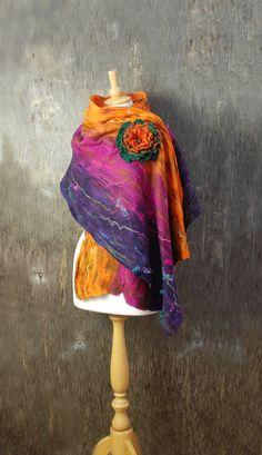 Nuno Felted scarf felt scarf felted shawl felt flower brooch
