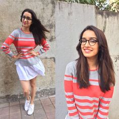 Shraddha Kapoor looks so cute with glasses Bollywood Girls, Indian Bollywood, Bollywood Fashion, Bollywood Stars, Fashion Wear, Girl Fashion, Fashion Outfits, Trendy Outfits, Indian Celebrities