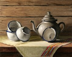 """Still life with White Tea Pot and bowls"", 2012, Fine art. Original oil painting by Natalia  Clarke"