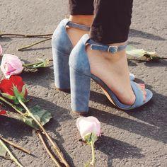 Blue suede heeled sandals, new arrivals.