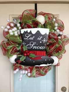 Let it Snow Mesh Christmas Wreath by SouthernWreathDesign on Etsy, $95.00