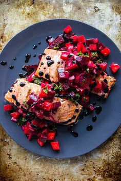 Grilled Salmon With Beets and Orange — bold in color and bold in flavor this healthy salmon recipe comes together in a weeknight-friendly timespan, via @heatherchristo