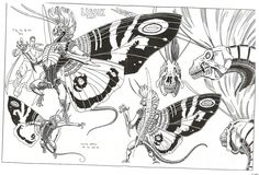 """Lissik, a villain from DC comic's maligned """"Bloodlines"""" comics. Art by Arthur Adams, which explains the Mothra wings."""