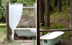 Outdoor bathtub and shower at the Red Hill house via Desire to Inspire (L) and an outdoor bath on the deck in Big Sur's Rosehaven Bed & Breakfast (R).
