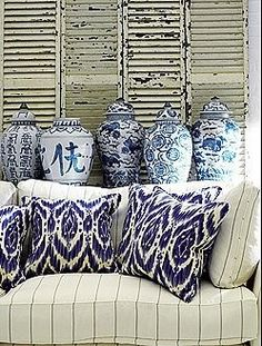 Blue and White w/ Ikat pillows