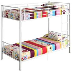 Walker Edison Sunrise Metal Twin over Twin Bunk Bed (14.160 RUB) ❤ liked on Polyvore featuring home, children's room, children's furniture and white