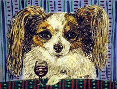 PAPILLON wine dog art print animals impressionism artist gift new signed #Impressionism