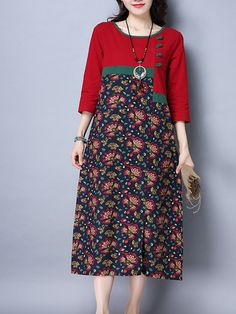 Vintage Women Floral Printed Patchwork Long Sleeve Pocket Dresses