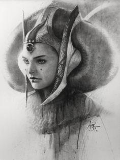 Queen Amidala Charcoal Portrait - Created by Stanley Lau / Star Wars