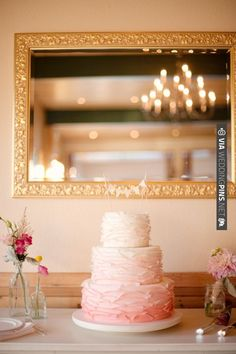 ruffled pink ombre cake | CHECK OUT MORE IDEAS AT WEDDINGPINS.NET | #weddingcakes