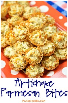 Artichoke Parmesan Bites - only 5 ingredients! Can make ahead of time and refrigerate or freeze for later. Great for parties! (christmas finger foods make ahead) Make Ahead Appetizers, Finger Food Appetizers, Yummy Appetizers, Appetizers For Party, Finger Foods, Appetizer Recipes, Finger Food Recipes, Phyllo Recipes, Italian Appetizers