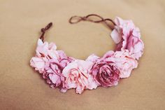rose crown headband - pastel pink, flower crown, Lana del ray, frida kahlo, large rose hair wreath, festival crown, romantic.. $39.00, via Etsy.
