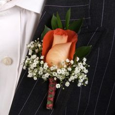 FiftyFlowers.com - Classic Rose Terracotta and Orange Boutonniere and Corsage Wedding Package  16/160