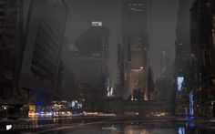 Rain: a personal artwork. A 'quick before bed painting'.