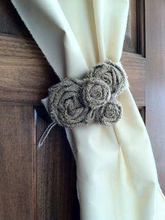 Burlap Curtain Tie Back, Pair, Varying Flowers.
