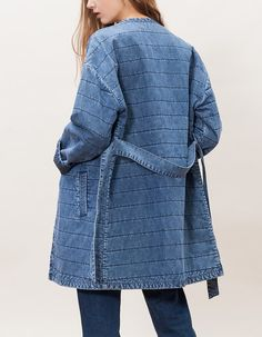 At Stradivarius you'll find 1 Quilted denim coat with belt for woman for just 15.99 £ . Visit now to discover this and more COATS.