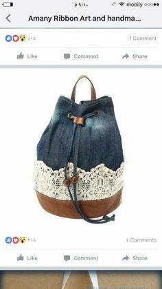 Reuse Jeans, Ribbon Art, Bucket Bag, Bags, Fashion, Handbags, Moda, Fashion Styles, Fashion Illustrations