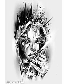 Skull Girl Tattoo, Girl Face Tattoo, Skull Tattoos, Body Art Tattoos, Girl Tattoos, Face Tattoos For Women, Back Tattoo Women, Back Tattoos, Tattoos For Guys