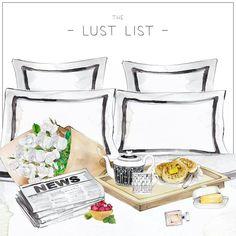 "#thelustlist #chic #fashion #girly #illustration #bed #breakfast #news #flowers #lust #List #perfume #white #black #lit #petitdéjeuner #fleurs #beurre #journal #fruits #bouteille #parfum #chanel - More illustrations LINE BOTWIN ""girly illustrations"""