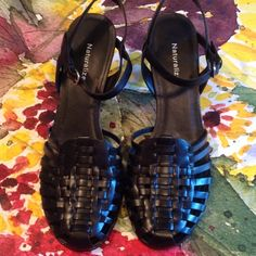 Beautiful Black Basket Weave from Naturalizer 9N Leather Upper. Like new condition. No scuff marks. Non smoking home. Adjustable straps. Non slip sole. Naturalizer Shoes