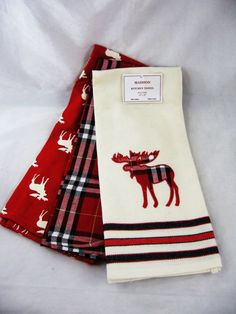 CHOICE: Bear or Moose Red or Black Kitchen Towel Sets Cabin Décor FREE SHIP