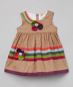 Look at this #zulilyfind! Khaki Flower Dress - Toddler & Girls #zulilyfinds