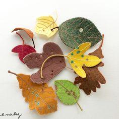 ochiba no applique ( オチバ ノ アップリケ ) Fallen leaves felt applique and embroidery by e. Autumn Leaves, Fallen Leaves, Leaf Template, Felt Leaves, Felt Applique, Embroidery Applique, Felt Fairy, Felt Brooch, Leaf Art