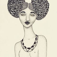 Looking rough and tough with her afro puffs! 👸  #illustration #afropuffs #pattern #dotwork