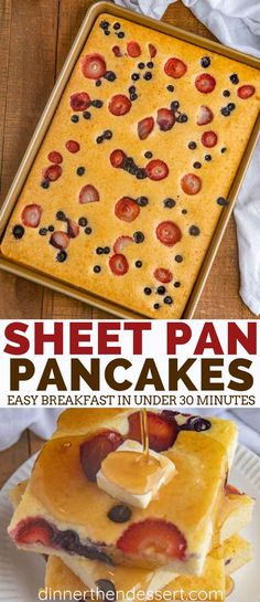 Sheet Pan Pancakes with mixed berries and homemade pancake batter let you make pancakes for a crowd without standing over the oven breakfast brunch pancakes holidays christmas mothersday valentinesday easter dinnerthendessert # Homemade Pancakes, Pancakes Easy, Pancakes In The Oven, Baked Pancakes, Keto Pancakes, Waffles, Homemade Pancake Recipes, Pancakes With Fruit, Krusteaz Pancake Mix Recipes