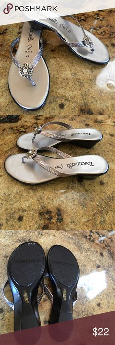 Toscanella Made in Italy Sandals So pretty Silver Sandals with silver bead and crystal decorations🌻Never worn. Toscanella Shoes Sandals