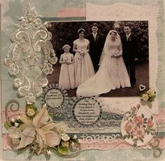 Forever...lovely soft heritage colors of dusty peach and sage with beautiful and varied lace accents. Love the little pearl heart and yellow rosebuds in lower left corner...details like these really make a page one of a kind.