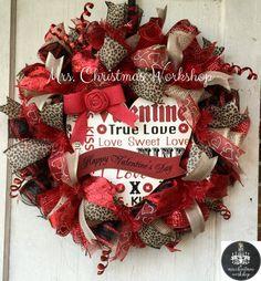 Deco mesh wreath Valentine wreath burlap wreath Valentine's Day