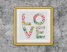 BOGO FREE Love Cross Stitch Pattern Floral love by StitchLine